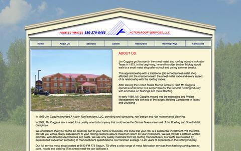 Screenshot of About Page actionroofservices.com - A Action Roof Services roofing roofers tile shingle metal roofs sheet metal fabrication Seguin Texas New Braunfels Schertz TX - captured Oct. 4, 2014