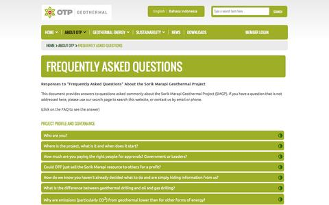 Screenshot of FAQ Page otp-geothermal.co.id - OTP Geothermal - Frequently Asked Questions - captured Oct. 6, 2014