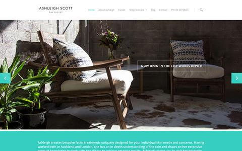 Screenshot of Home Page ashleighscott.co.nz - Beauty Therapy and Facials in Auckland - Ashleigh Scott Facialist - captured Oct. 4, 2014