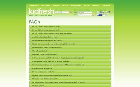 Screenshot of FAQ Page kidfresh.com - FAQ « Kidfresh Kidfresh - captured Sept. 30, 2014