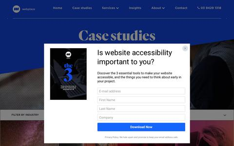 Screenshot of Case Studies Page webplace.com.au - Case studies - Webplace - captured Sept. 21, 2018