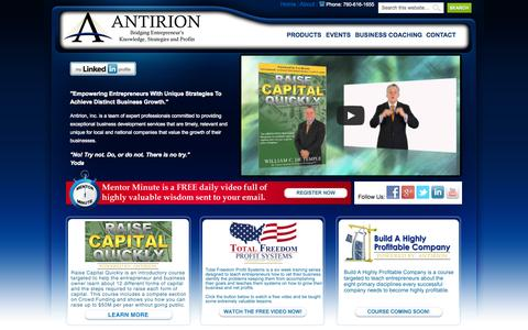 Screenshot of Home Page antirion.co - Antirion — Bridging Entrepreneur's Knowledge, Strategies and Profits - captured Sept. 30, 2014