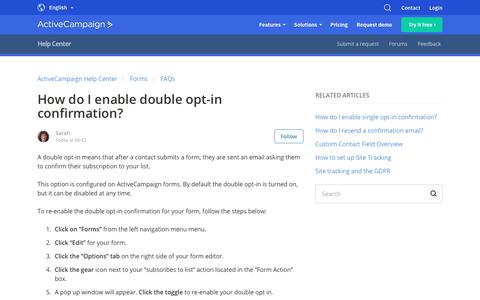 Screenshot of Support Page activecampaign.com - How do I enable double opt-in confirmation? – ActiveCampaign Help Center - captured June 18, 2019