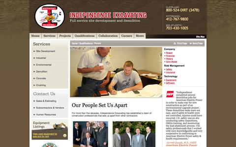 Screenshot of Team Page indexc.com - People Qualifications -  Independence Excavating - captured Oct. 6, 2014