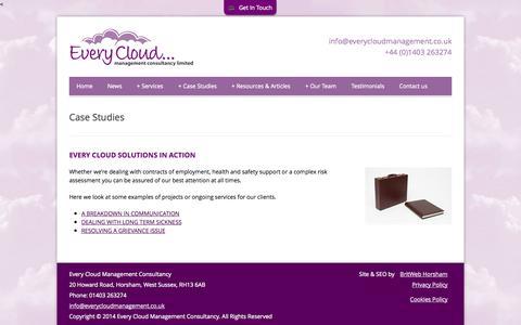 Screenshot of Case Studies Page everycloudmanagement.co.uk - Case Studies | Every Cloud Management - captured Oct. 3, 2014