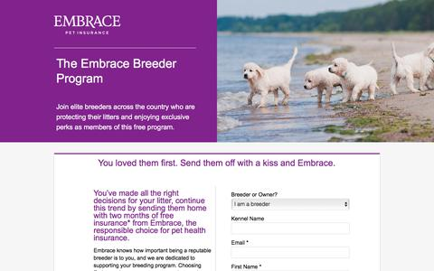 Screenshot of Landing Page embracepetinsurance.com - Embrace Pet Insurance | Experience Better Pet Insurance with EMBRACE - captured March 31, 2018
