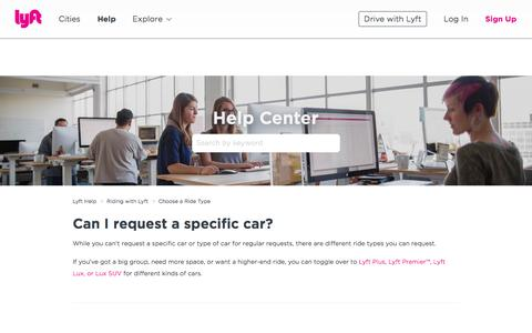 Screenshot of Support Page lyft.com - Can I request a specific car? – Lyft Help - captured June 22, 2018