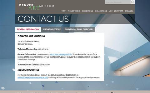 Screenshot of Contact Page denverartmuseum.org - Contact Us   Denver Art Museum - captured Aug. 6, 2018