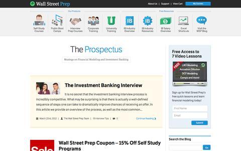 Screenshot of Blog wallstreetprep.com - Investment Banking Blog | Finance Interview Questions, Industry Musings - Wall Street Prep - captured Sept. 25, 2014