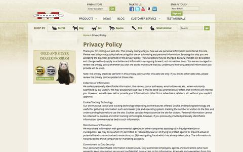 Screenshot of Privacy Page marshallpet.com - Privacy Policy - Marshall Pet Products - captured Oct. 27, 2014