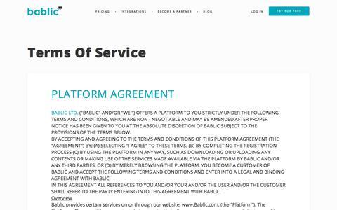 Screenshot of Terms Page bablic.com - TOS - Translate Your Website - Bablic - captured Jan. 7, 2020
