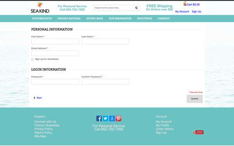 Screenshot of Signup Page sea-kind.com - Create New Customer Account - captured Oct. 4, 2014