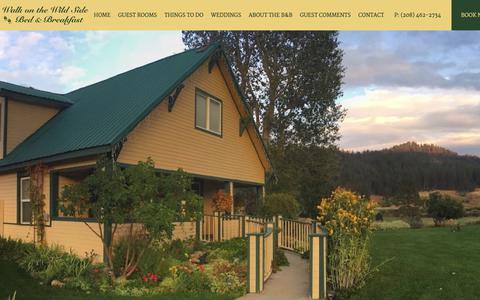 Screenshot of Home Page wildsidebb.com - Wild Side Bed & Breakfast | Your Romantic Idaho Getaway - captured July 4, 2018