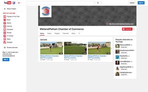 Screenshot of YouTube Page youtube.com - Welland/Pelham Chamber of Commerce  - YouTube - captured Nov. 5, 2014