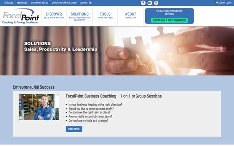 Screenshot of Services Page focalpointcoaching.com - Solutions - captured Feb. 6, 2018