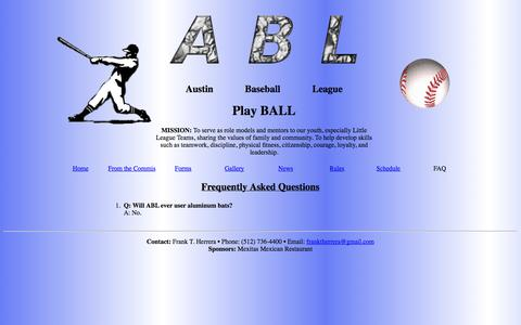 Screenshot of FAQ Page darksagestudios.com - ABL - Austin Baseball League - captured Sept. 30, 2014
