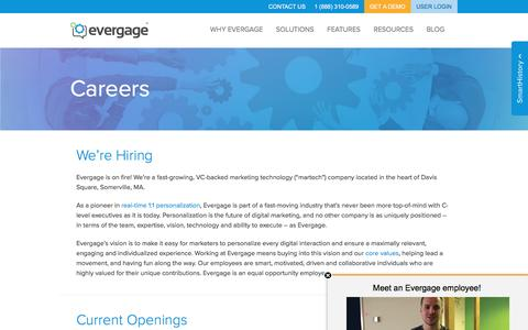 Screenshot of Jobs Page evergage.com - Evergage | Careers - captured Aug. 19, 2016