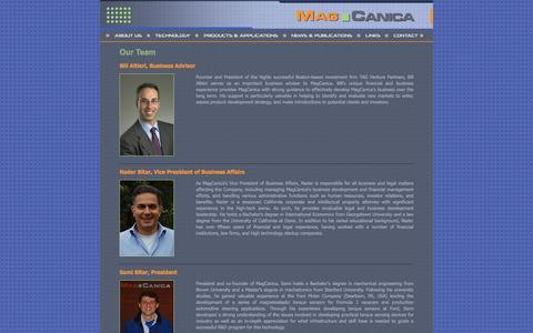 Screenshot of Team Page magcanica.com - MagCanica Inc :: Home - captured May 27, 2017