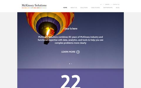 Screenshot of Home Page mckinseysolutions.com - McKinsey Solutions - Innovative services combining McKinsey expertise with data, analytics, and tools - captured Oct. 10, 2015