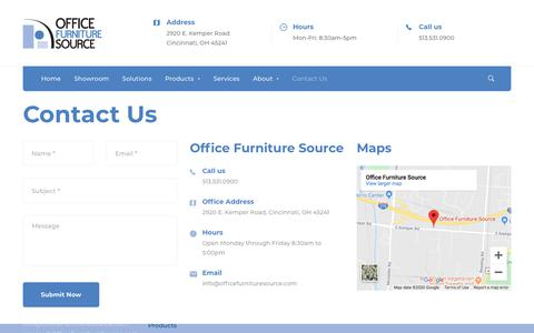 Screenshot of Contact Page officefurnituresource.com - Contact Us - Office Furniture Source - captured Jan. 14, 2020