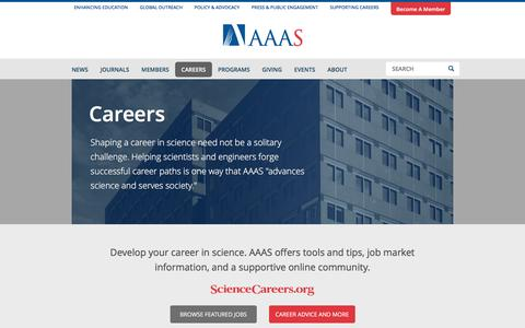 Screenshot of Jobs Page aaas.org - Careers | AAAS - The World's Largest General Scientific Society - captured July 23, 2016