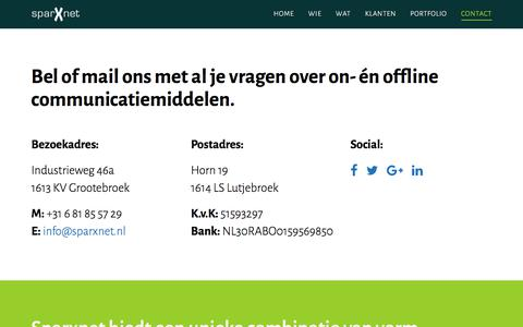 Screenshot of Contact Page sparxnet.nl - Sparxnet - Contact - captured June 19, 2017
