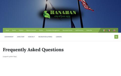 Screenshot of FAQ Page cityofhanahan.com - Frequently Asked Questions - City of Hanahan - captured Sept. 28, 2018