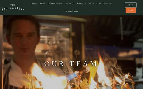 Screenshot of Team Page thejuggedhare.com - OUR TEAM - The Jugged Hare, Barbican - captured Oct. 20, 2018