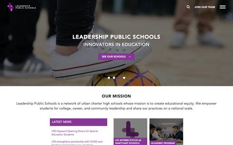 Screenshot of Home Page leadps.org - Home • Leadership Public Schools - captured Nov. 9, 2018
