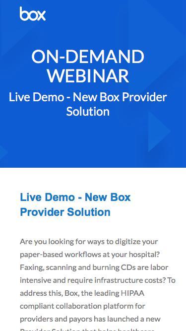 Live Demo - New Box Provider Solution