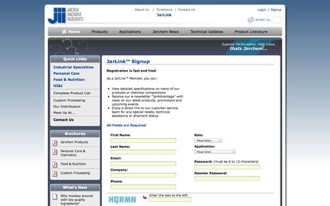 Screenshot of Signup Page jarchem.com - Chemical Manufacturing Company | Create Account | Jarchem Industries - captured Oct. 6, 2014