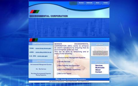 Screenshot of Home Page bowdenenv.com - Home - captured Oct. 5, 2014