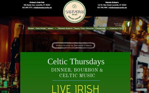 Screenshot of Home Page osheaslouisville.net - Oshea's Family of Pubs | Irish Pub Louisville Kentucky - captured Oct. 5, 2014