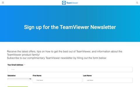 Screenshot of Signup Page teamviewer.com - Sign up TeamViewer Newsletter - TeamViewer - captured Oct. 31, 2019
