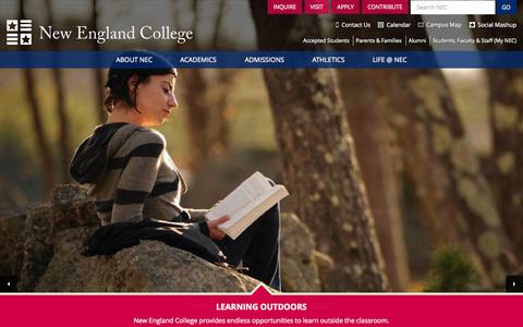 Screenshot of Home Page nec.edu - New England College - You Belong Here - captured Sept. 19, 2014