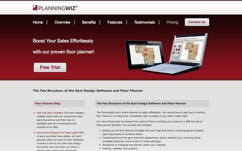 Screenshot of Pricing Page planningwiz.com - Gym design software - pricing - captured Sept. 24, 2014