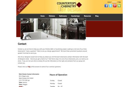 Screenshot of Contact Page cacbydesign.com - Contact | Countertops and Cabinetry by Design - captured Sept. 29, 2018