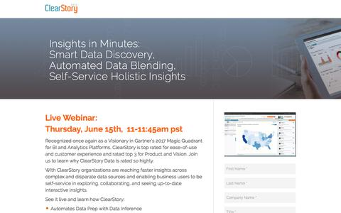 Screenshot of Landing Page clearstorydata.com - ClearStory Data - captured June 5, 2017