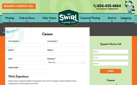 Screenshot of Jobs Page mrswirl.com - Careers | Mr. Swirl the Friendly Plumber | Vancouver, BC - captured July 10, 2018