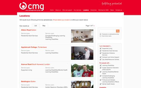 Screenshot of Locations Page cmg.co.uk - CMG |  Locations | Search - captured Oct. 1, 2014