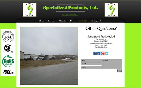 Screenshot of Contact Page specializedproductsltd.com - Contact Us | Wisconsin | Specialized Products, Ltd. - captured Oct. 20, 2018