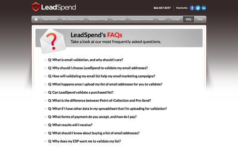 Screenshot of FAQ Page leadspend.com - FAQ - captured Sept. 16, 2014