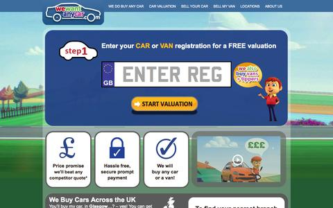 Screenshot of Home Page wewantanycar.com - Buy My Car - We Buy Your Car for cash - WeWantAnyCar.com - captured Sept. 19, 2014
