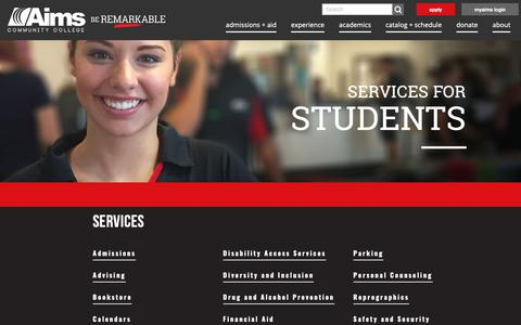 Screenshot of Services Page aims.edu - Services for Students - Aims Community College - captured Nov. 12, 2018