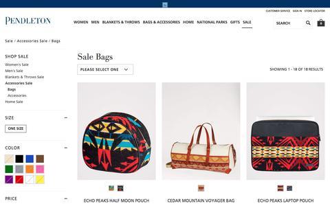 Screenshot of pendleton-usa.com - Bags | Sale Accessories Sale | Pendleton - captured Nov. 16, 2017