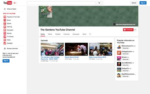 Screenshot of YouTube Page youtube.com - The Gardens YouTube Channel  - YouTube - captured Oct. 25, 2014