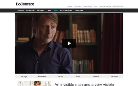Screenshot of About Page boconcept.com - BoConcept featuring award-winning actor Mads Mikkelsen - captured July 29, 2016