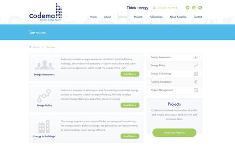 Screenshot of Services Page codema.ie - Services - Codema, Dublin - captured Oct. 3, 2014