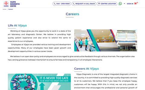 Screenshot of Jobs Page vijayadiagnostic.com - Work At Vijaya Diagnostic Centre || Vijaya Diagnostic Centre - captured Oct. 2, 2019
