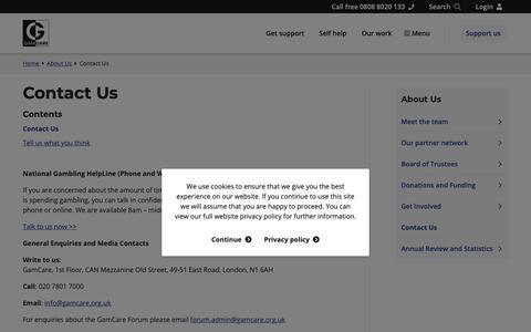 Screenshot of Contact Page gamcare.org.uk - Contact Us - GamCare - captured April 13, 2019